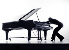 Creative promotional marketing images of Seattle pianist