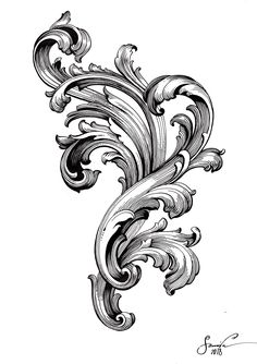 90 Filigree Tattoos For Men Ornamental Ink Design Ideas Filigrana Tattoo, Filagree Tattoo, Swirl Tattoo, Osiris Tattoo, Molduras Vintage, Ornament Drawing, Engraving Art, Carving Designs, Acanthus