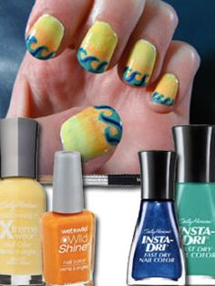 summer nails with waves #SummerNails