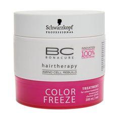 Schwarzkopf BC Bonacure Color Freeze Máscara recupera intensamente o cabelo com coloração. Proporciona até 90% de retenção da cor e garante 100% de brilho. Sela a superfície capilar e fixa os pigmentos da cor.