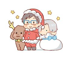 Yuri on Ice - Makkachin, Yuri, and Victor #Christmas #chibi