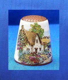 Austrian Thimble Copper with Enamel Cottage | eBay