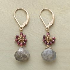 """GARNET AND LABRADORITE EARRINGS--Flurries of garnets cap labradorites in these garnet and labradorite dangling earrings, a warm contrast to the larger gems' iridescence. 14kt gold filled. A handcrafted exclusive with lever back wires. 1-1/2""""L."""