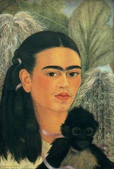 Fulang-Chang et moi Artiste : Frida Kahlo Dimensions : 40 cm x 28 cm Période : Art naïf Création : 1937–1937 Support : Peinture à l'huile Genre : Autoportrait
