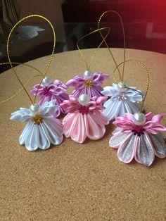 3d Christmas, Christmas Ornament Crafts, Christmas Angels, Christmas Projects, Christmas Decorations, Ribbon Art, Ribbon Crafts, Diy Crafts, Kanzashi Flowers