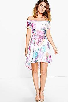 30a46599466 Alessandra Robe Bardot À Fleurs En Tulle Floral Evening Dresses