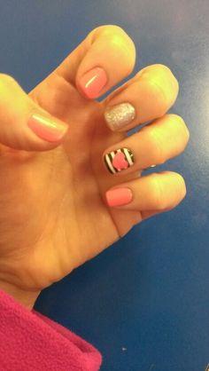 Stripe heart sparkle shellac manicure