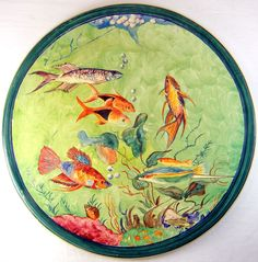 """Catalina Island Cold Painted Fish Plate #140-30 by Maude Chase 10"""""""