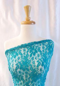 Lace Fabric Floral Design  Deep Mint Color  by FabricsnLace