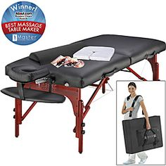 @Overstock - Let your clients lie down and relax in this extra-wide master massage table padded with a luxurious memory foam. It also features an ergonomic adjustable face cradle, oversized armrest, and super-soft pillow covers for extra comfort and stability.http://www.overstock.com/Health-Beauty/Master-Massage-Montclair-Pro-31-inch-Massage-Table/6737215/product.html?CID=214117 $298.99