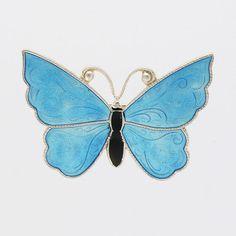 Silver Enamel Butterfly  Brooch/Pin - MEKA  - Denmark
