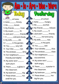 Am - Is - Are - Was - Were worksheet - Free ESL printable worksheets made by tea. Am - Is - Are - Was - Were worksheet - Free ESL printable worksheets made by teachers worksheet English Grammar For Kids, Learning English For Kids, Teaching English Grammar, Verb Worksheets, English Worksheets For Kids, English Lessons For Kids, English Verbs, English Writing Skills, English Activities