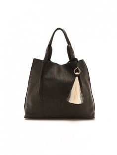 Oliveve Pebbled Maggie Tote in Black with a pony-hair tassel