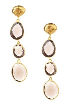 Everyday Earrings  Smokey Quartz Triple Drop & Post Earrings