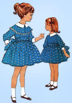 1960s Vintage Advance Sewing Pattern 2984 Toddler Girls High Waist Dress Size 4