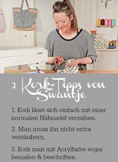 Tipps zum Nähen mit Kork Pfaff, Life Hacks, Sewing, Fabric, Inspiration, Diy Bags, Cork, Home Decor, Create