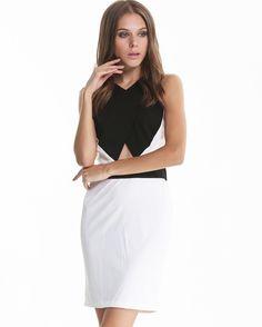 Black and White Sleeveless Criss Cross Backless Dress $29