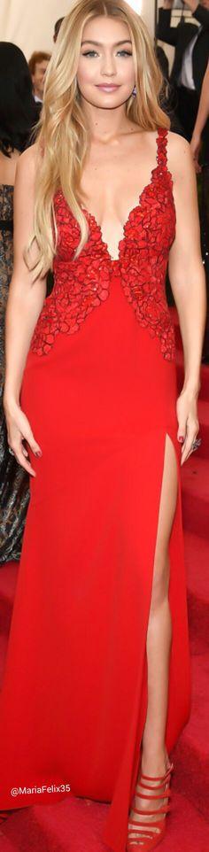 Gigi Hadid in Diane von Furstenberg at The Met Gala 2014 Red Carpet