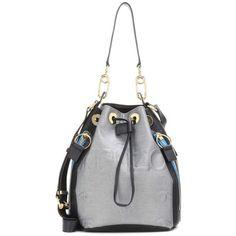 Kenzo Bike Bucket Bag (875 BAM) ❤ liked on Polyvore featuring bags, handbags, shoulder bags, metallic, silver shoulder bag, white handbags, silver purse, kenzo handbags and silver metallic handbags