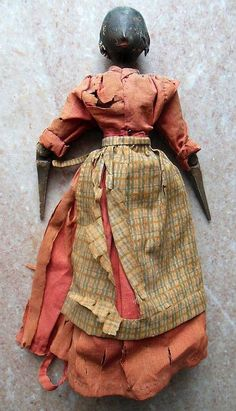 RARE Antique 1840s Black Americana Jointed Wood Doll in Original Clothing.
