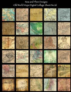 Old World Maps Digital Collage by Now and Then Designs
