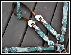 Custom tack set, teal/white, turquoise and clear swaroski crystals