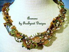 Anemone  artisan beadwoven necklace by FireSpiritDesigns on Etsy, $250.00