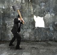 businessman hold sledgehammer cracking big white hole on concrete wall Big Challenge, Concrete Wall, Challenges, Trends, News, Philosophy, Psychology, Life Tips, Relationships