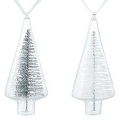 Buy John Lewis Snowdrift Glitter Tree in Glass Tree Decoration, Assorted Online at johnlewis.com