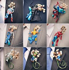 love fun couples and fun weddings! for the superhero loving couple :) #wedding boutonniere.