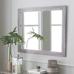 Weathered Gray Framed Wall Mirror