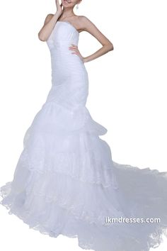 http://www.ikmdresses.com/Women-Strapless-Ruched-Tiers-Ruffles-Lace-Appliques-White-Mermaid-Wedding-Dresses-Bridal-Gowns-p88734