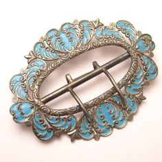 Antique Buckle Victorian Sterling Enamel