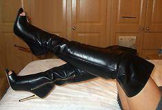 Superb High Heel Stiletto Over Knee Peeptoe Leather Thigh Boots 6 39 8.5 BNIB