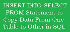 SQL SERVER: INSERT INTO SELECT FROM Statement to copy data from one table to another http://www.webcodeexpert.com/2016/03/sql-server-insert-into-select-from.html In this article I am going to share how to copy/select data from all or selected columns of one table and insert into other existing table in SQL.