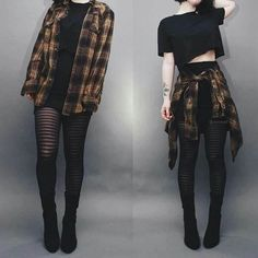 Ways to Wear Chic Grunge Outfits in Spring Grunge fashion is based on the grunge music scene. Grunge outfits are mostly comfortable, dirty, torn, checkered and heavily infused with flannel – Plaid Shirt Outfits, Crop Top Outfits, Fall Outfits, Fashion Outfits, Womens Fashion, Nu Goth Fashion, Fashion Clothes, Fashion Fashion, Dark Fashion