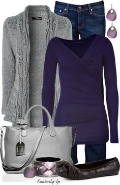 """Purple"" by kimberly-lp on Polyvore -- oooh. really cute top -- I like the v-neck/crossover wrap style. the colors of the earrings is a nice complement"
