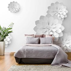 """Water-resistant and scratch-proof fleece wallpaper """"White Garden"""".Wallpaper """"White Garden"""" with the bold effect of white flowers will finish your room beautifully. 3d Wallpaper Mural, Brick Wallpaper, Photo Wallpaper, 3d Wall Painting, Bedroom Decor, Wall Decor, White Gardens, Paint Designs, Wall Murals"""