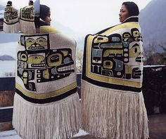 Beautiful example of Pacific coast Native American clothing and art.