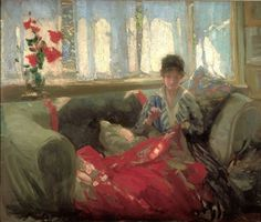 Philip Wilson Steer Woman Sewing Reproduction Oil Painting on Canvas Framed for Sale