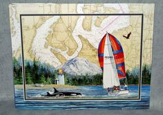 Pacific NW Puget Sound Nautical Sailboat Orcas Chart Print By Vestuto LE 176 Christmas Shopping Online, Orcas, Sailboat, Sailing, Nautical, Chart, Art Prints, World, Water