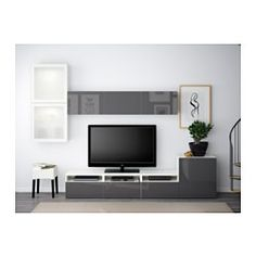 BESTÅ TV storage combination/glass doors - white/Selsviken high-gloss/gray frosted glass, drawer runner, soft-closing - IKEA