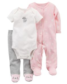 This 3-piece sleep & play set is perfect for mixing and matching. With expandable shoulders and a sweet embroidered kitty, this set will be baby's favorite for around the clock wear!
