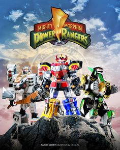 8 x 10 glossy print of the Mighty Morphin' Megazords.