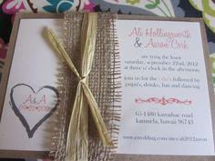 Rustic Heart/Monogram Burlap and Kraft Wedding Invitation.