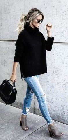 #winter #outfits  black coat and distressed blue denim jeans