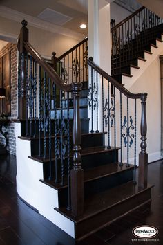 This design was created using Twist series balusters. The long single twist baluster (16.1.21) and the double twist single butterfly baluster (16.1.16) create a uniquely designed staircase. These components are available in Satin Black (shown), Silver Vein, Copper Vein, Oil Rubbed Bronze, Oil Rubbed Copper, and Antique Nickel. We offer parts, install services, and custom components throughout Texas. Click the image for more information.