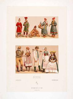 1888 Chromolithograph Costume Lapland Sampi Sami Sweden Norway Traditional Dress | eBay