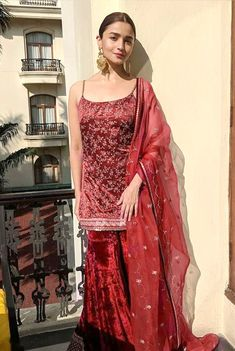 Satin heavy embroidery work kameez with velvet fabric Sarara style palzo For order and inquiry DM and WhatsApp me at Salwar Dress, Sharara Suit, Salwar Kameez, Saree Blouse, Indian Wedding Outfits, Indian Outfits, Indian Weddings, Indian Attire, Indian Wear