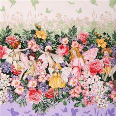 cute fairy flower glitter border panel fabric Michael Miller USA 2